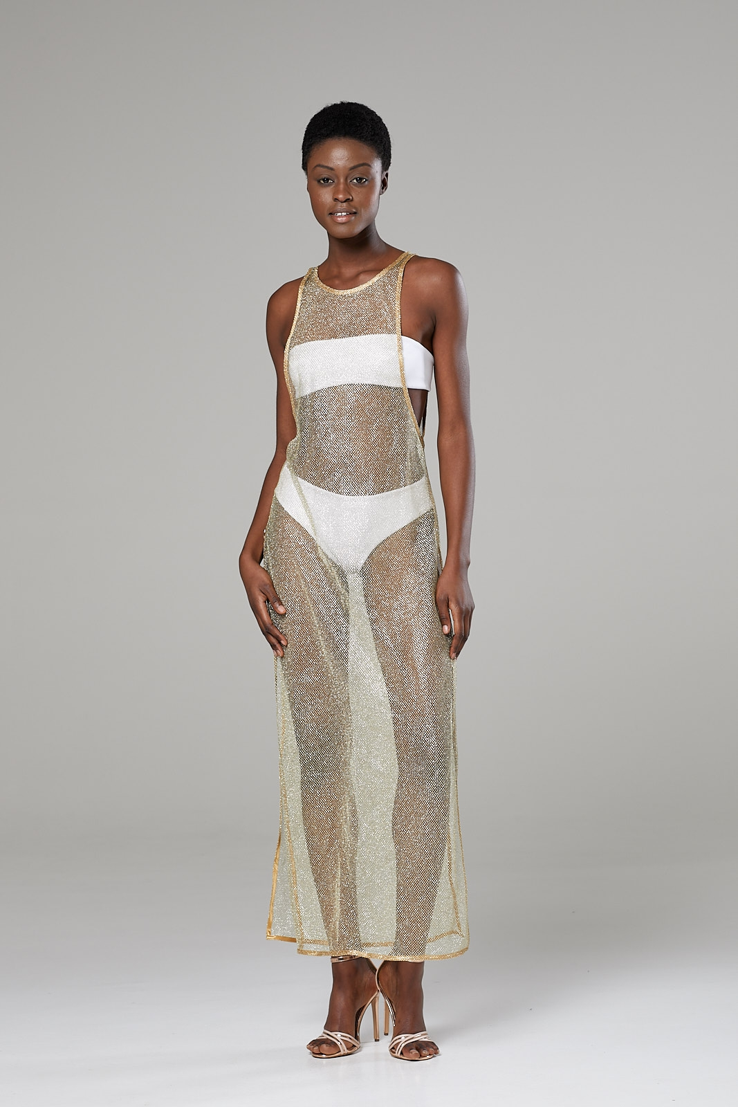 Long Gold Netted Beach Dress