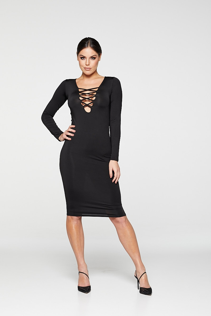 REG31 Black Long Sleeve Stripe Front Bodycon Dress