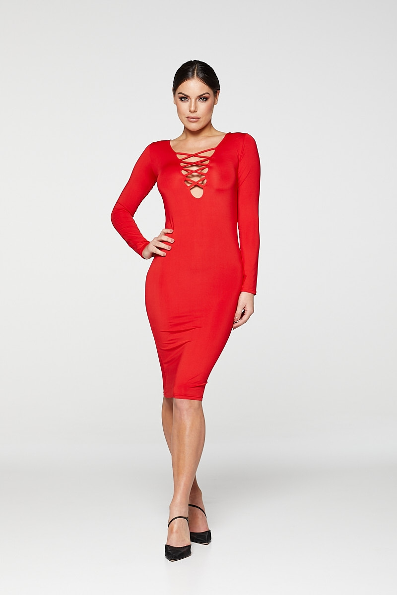 REG31 Red Long Sleeve Stripe Front Bodycon Dress