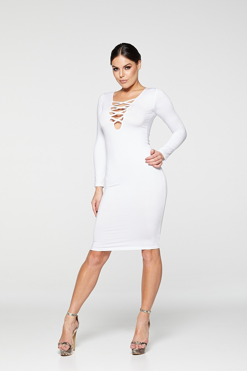 REG31 White Long Sleeve Stripe Front Bodycon Dress