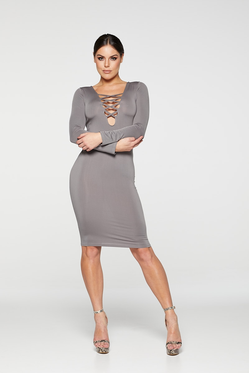 REG31 Grey Long Sleeve Stripe Front Bodycon Dress
