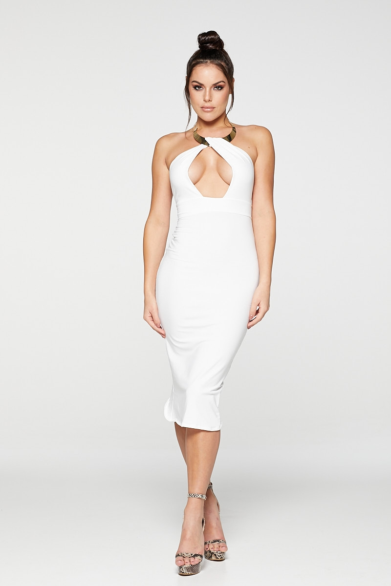 REG31 White Elegant Halter Neck Dress With Gold Necklace