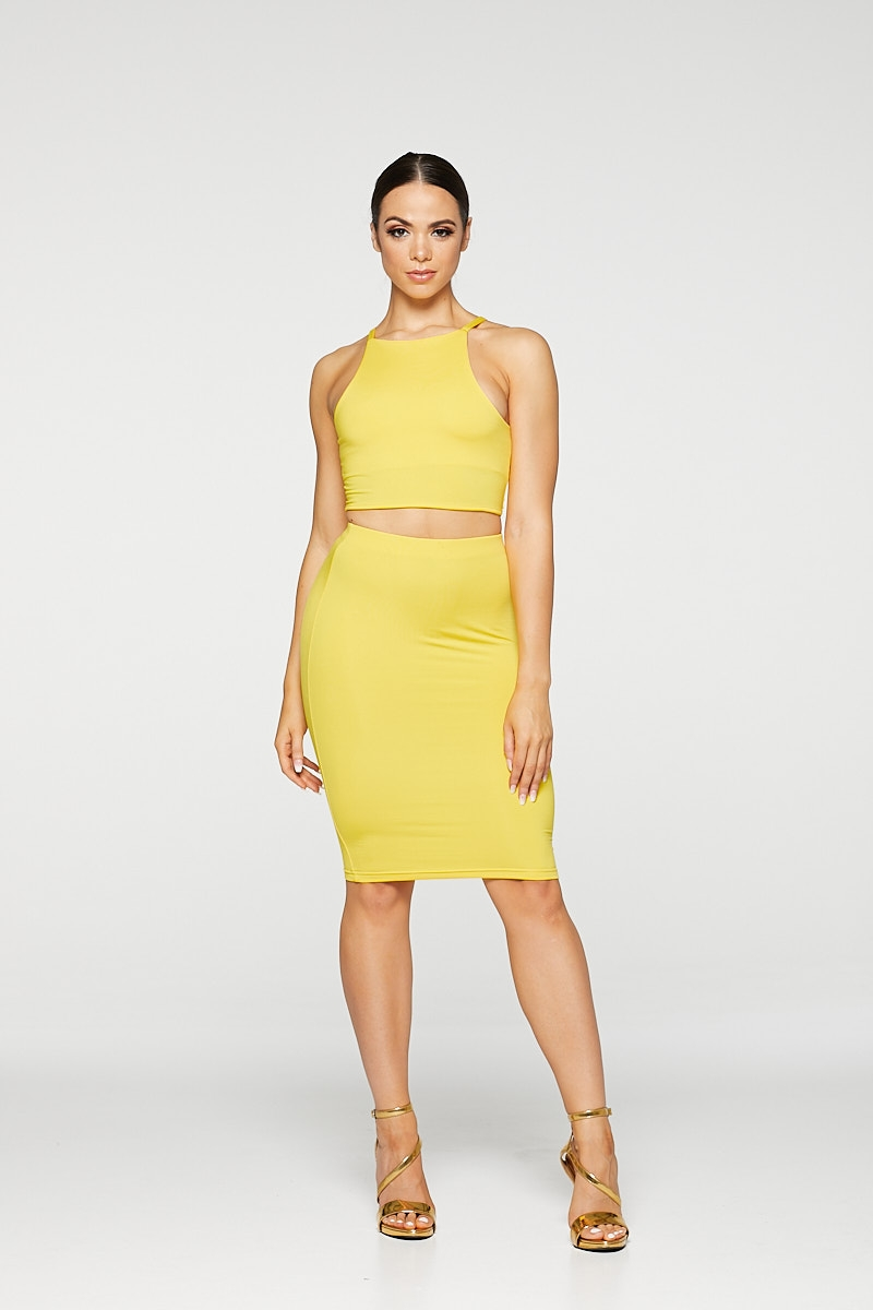 REG31 Yellow Sleek Midi Skirt