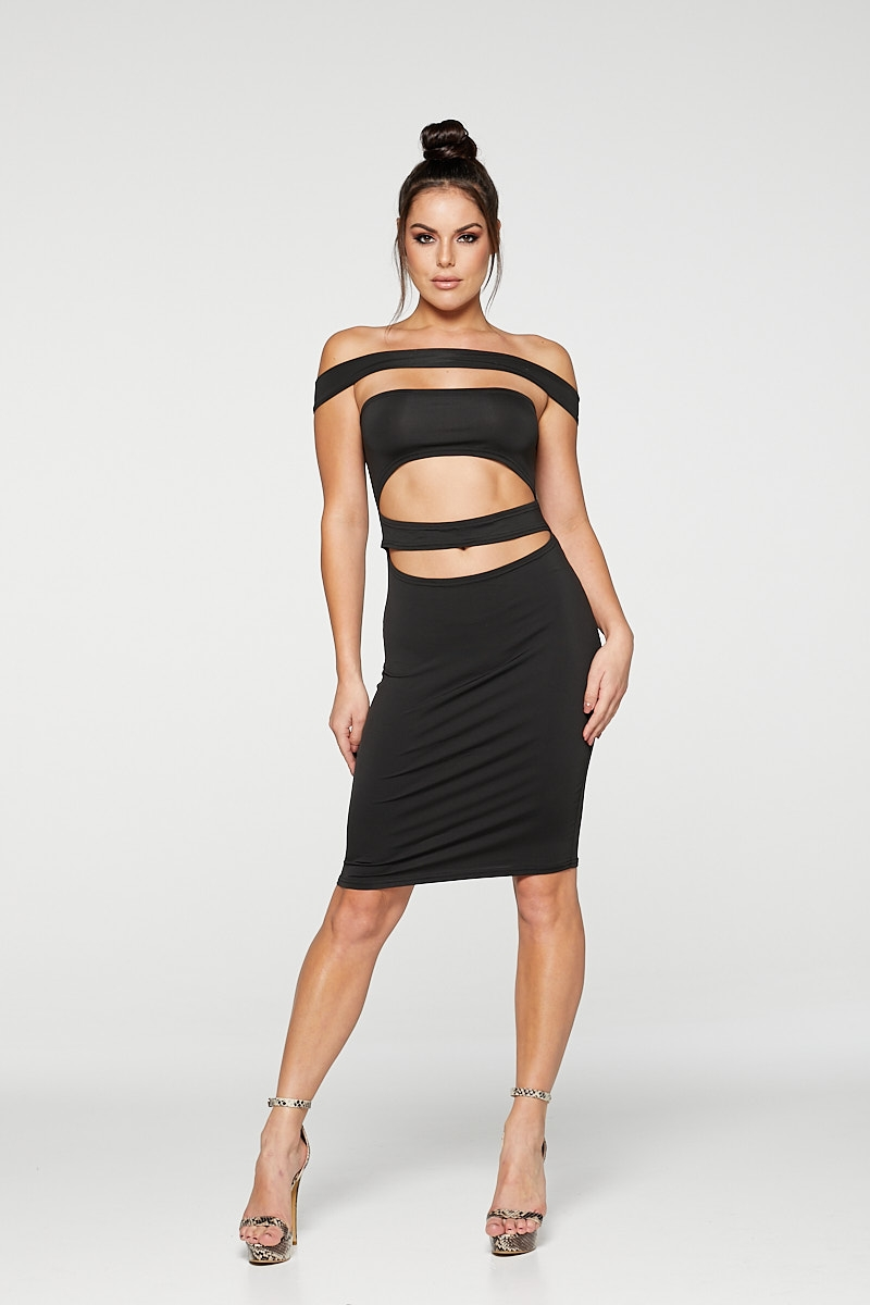 REG31 Black Striped Bondage Bodycon Dress
