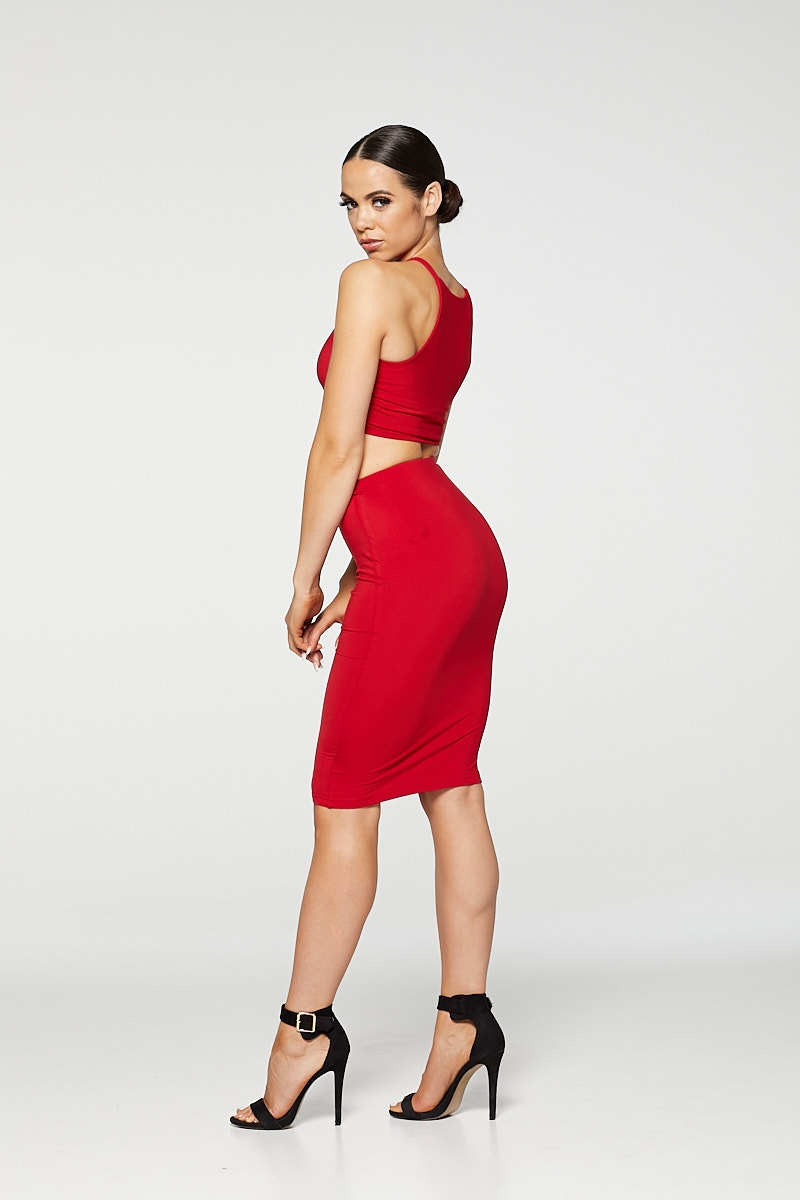 REG31 Red Sleek Midi Skirt