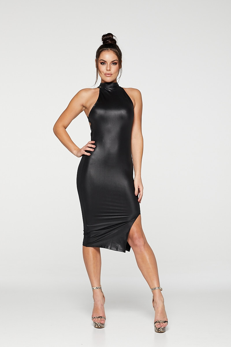 REG31 Black Gloss Halter Neck Backless Stripe Bodycon Dress