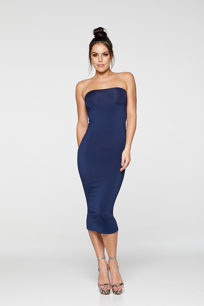 REG31 Dark Navy Sleek Bandeau Bodycon Midaxi Dress