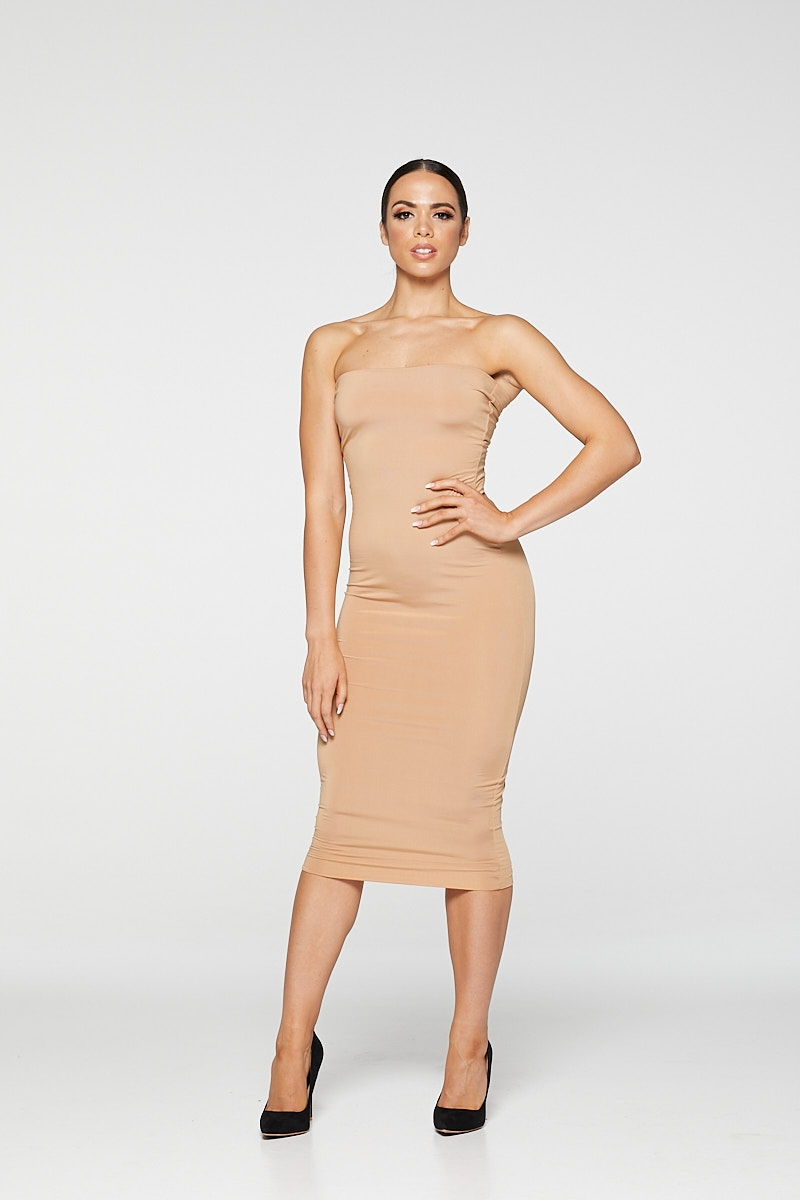 REG31 Nude Sleek Bandeau Bodycon Midaxi Dress