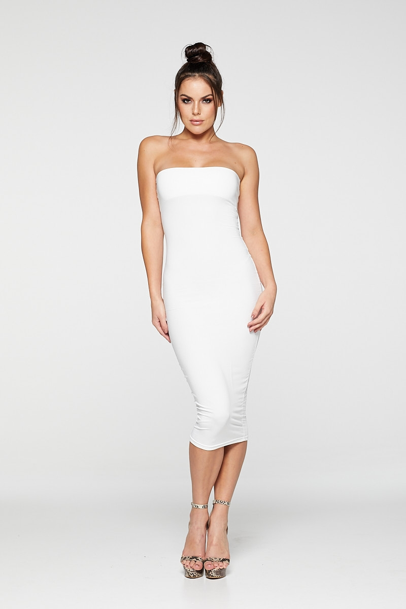 REG31 White Sleek Bandeau Bodycon Midaxi Dress