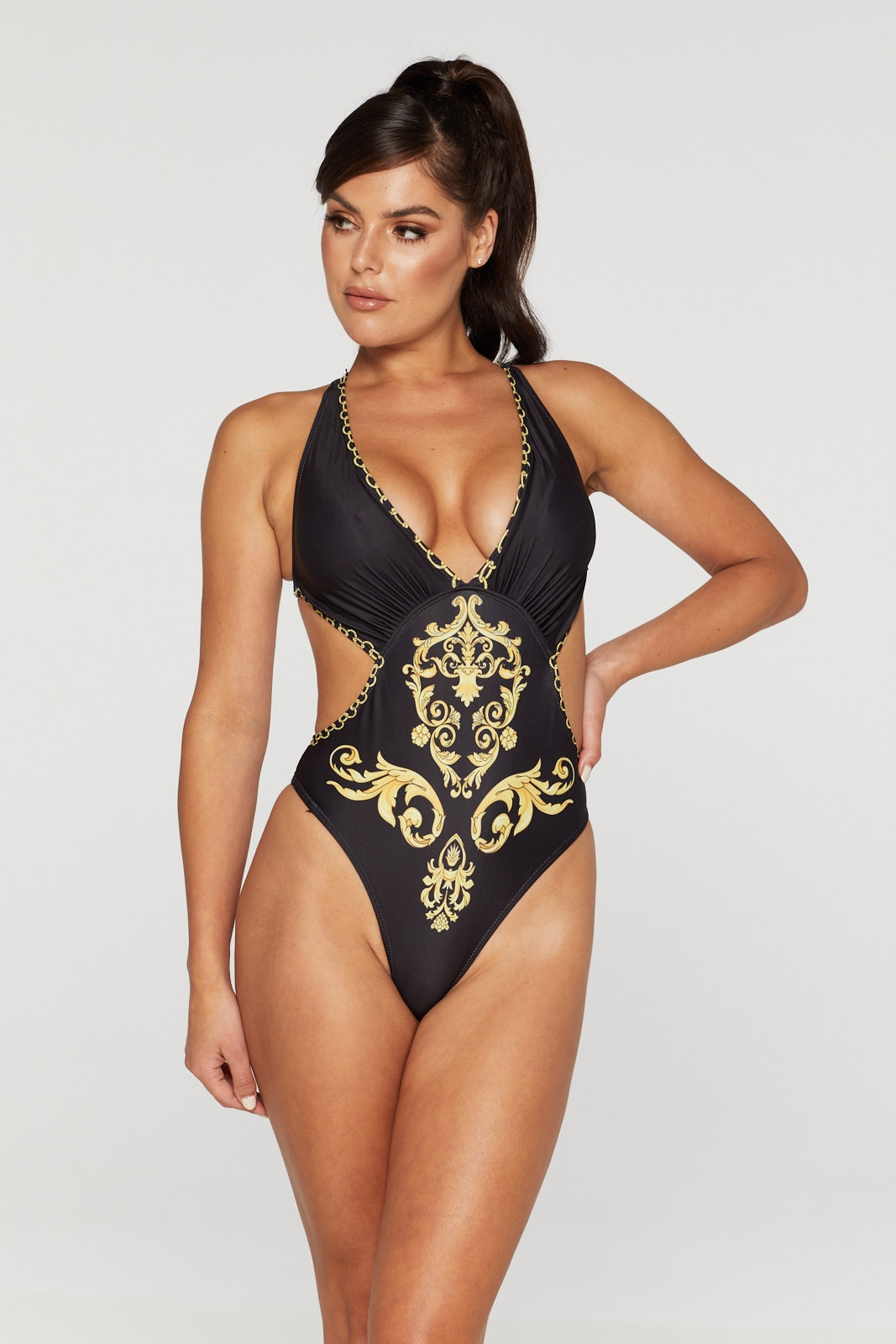 REG31 Black and Gold Printed Swimsuit