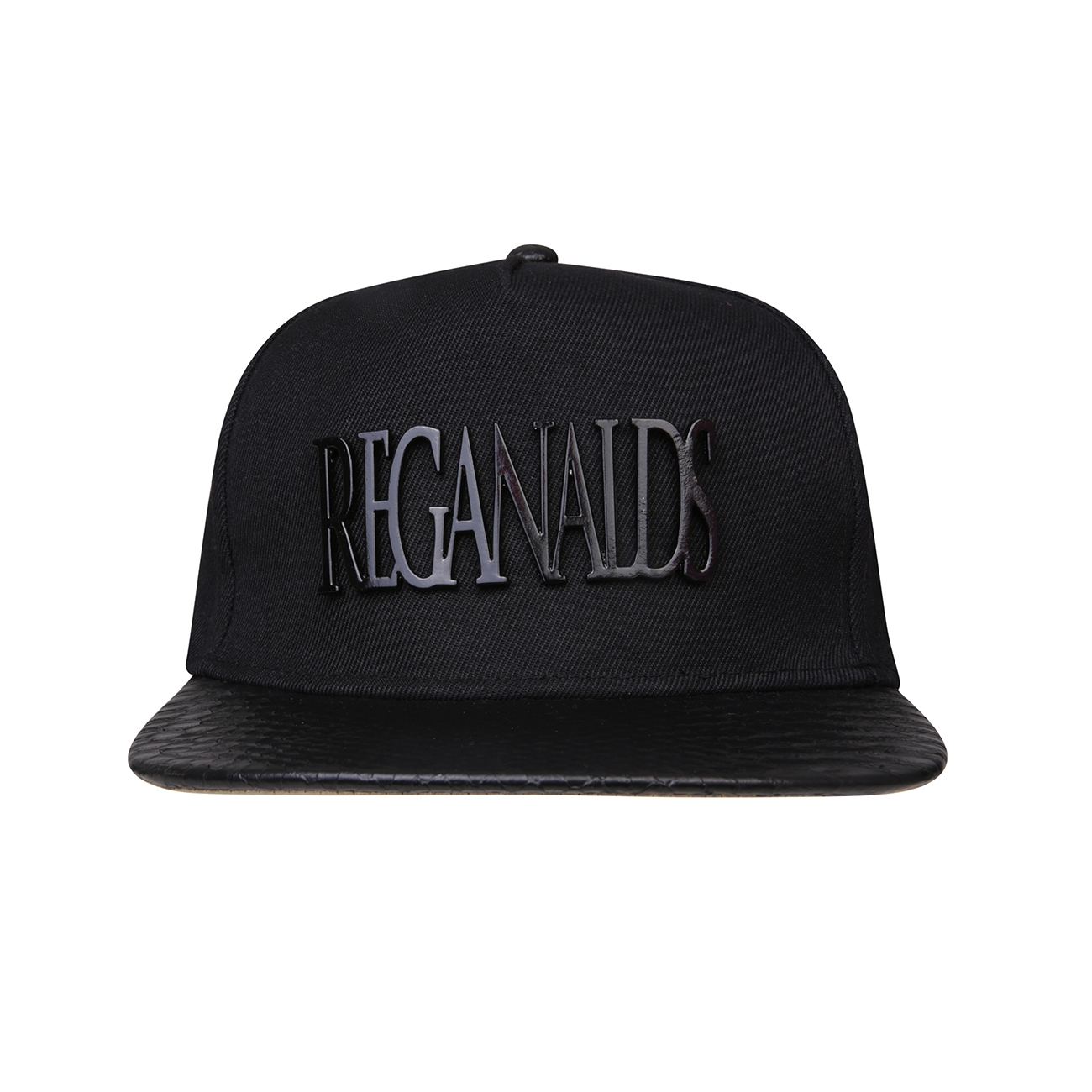 REG31 Reganalds Signature Black And Gold Faux Leather Cap