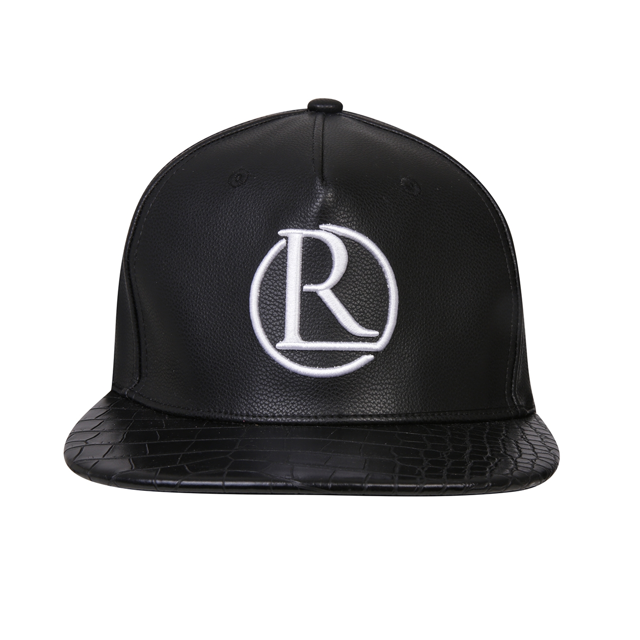 REG31 Black Faux Leather Reganalds Logo Cap