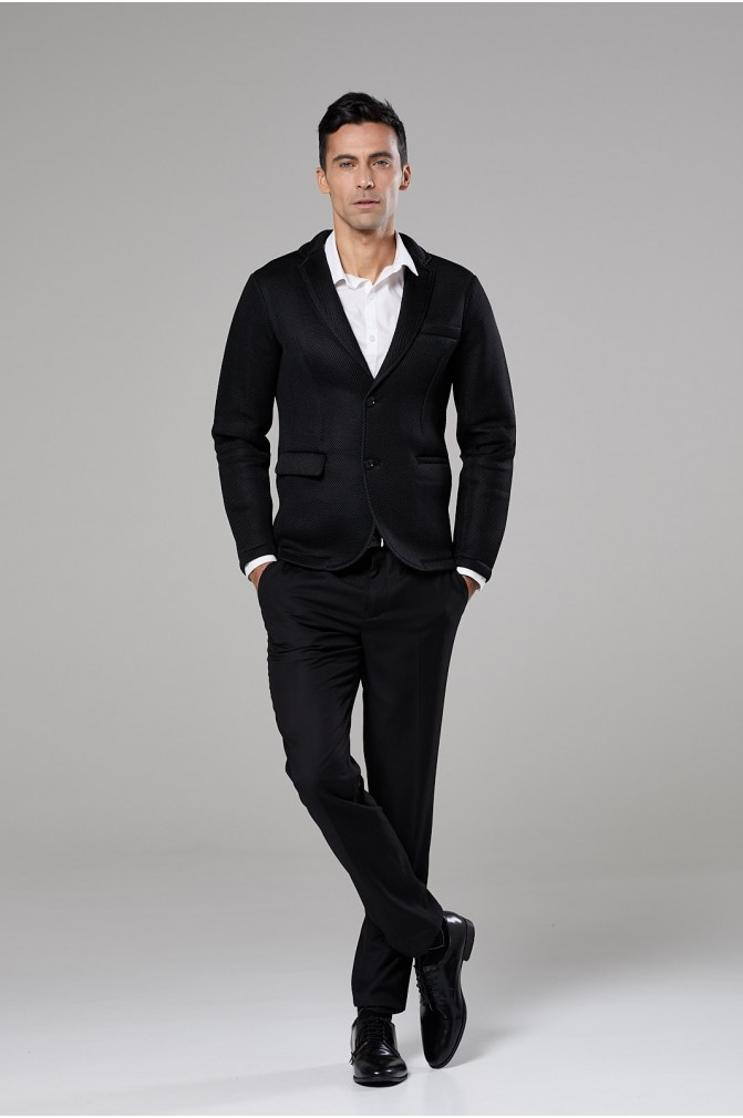 Black Netted Fitted Blazer