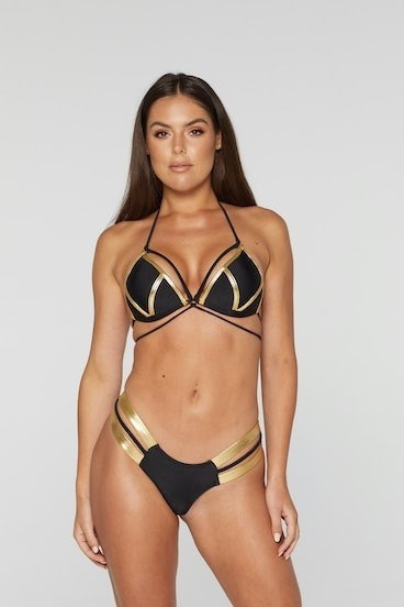 REG31 Black and Gold Strapped Bikini Set