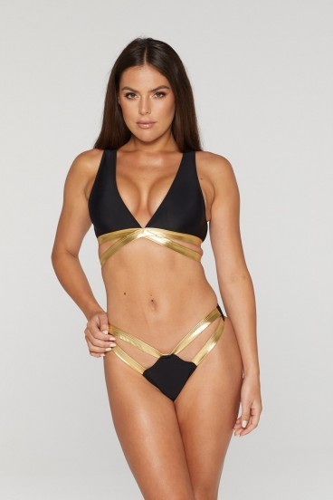 REG31 Black and Gold Twin Strapped Bikini Set