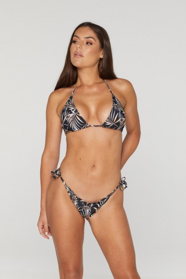 REG31 Black Leaf Themed Bikini Set