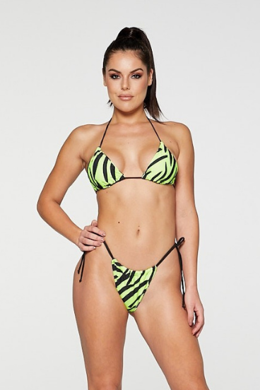 REG31 Neon Green and Black Tiger Print Tie Up Bikini Set