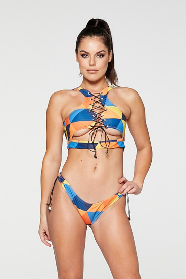 REG31 Multi Coloured Lace Up Cut Out Bikini Set