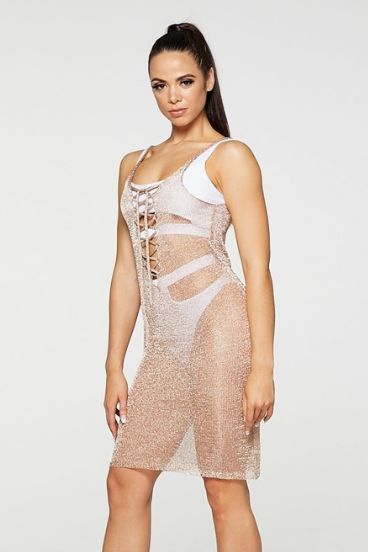 REG31 Rose Gold Netted Mesh Lace Up Beach Dress