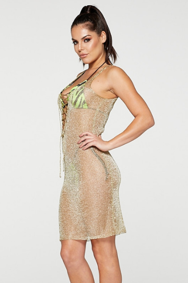 REG31 Gold Netted Mesh Lace Up Beach Dress