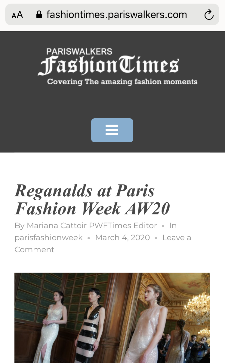 REGANALDS PFW PRESS COVERAGE