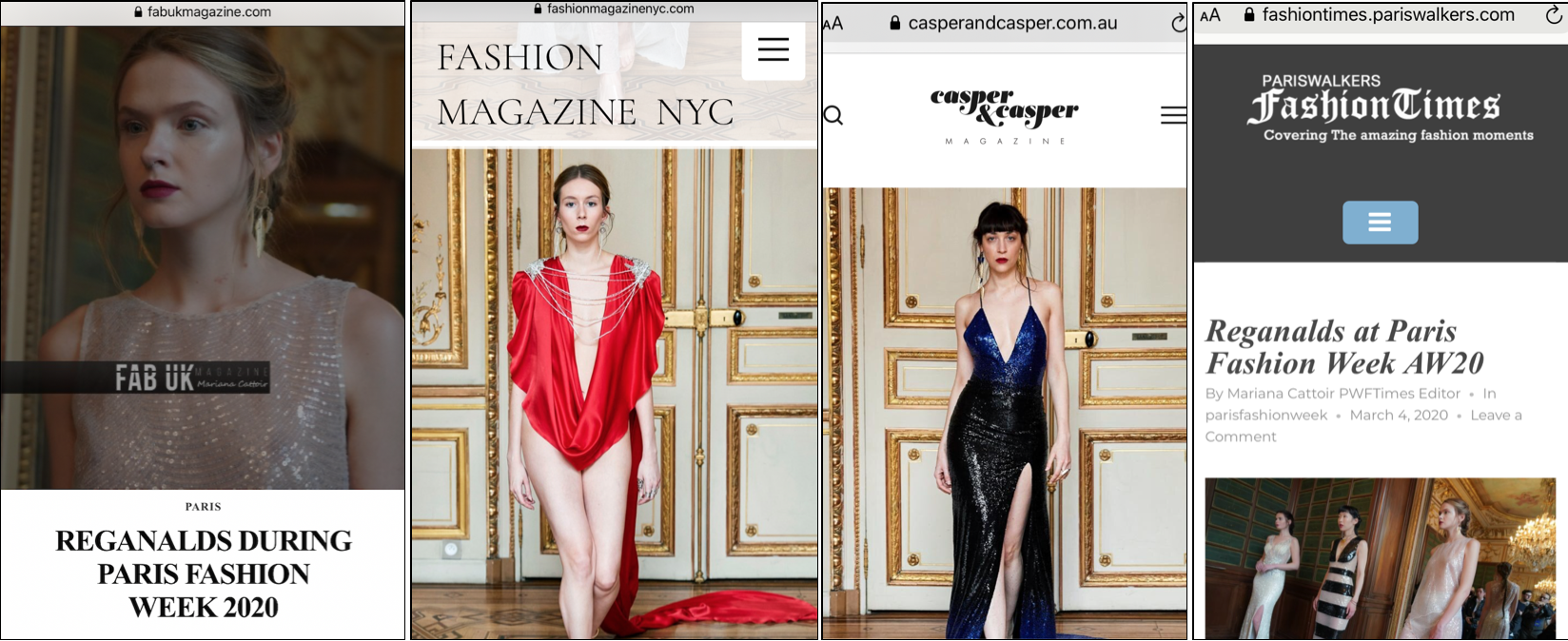 REGANALDS PFW PRESS & MEDIA COVERAGE